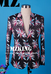 Плюс размер мужской блейзер лузер Черный Синий Цветы костюм костюмы GD мужчины тонкий ночной клуб мужчины певица костюм формальное платье - Цвет: Черный