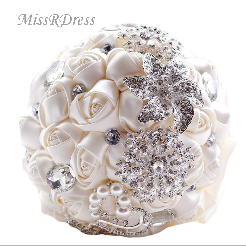 MissRDress Bouquets de mariage artificiels strass soie mariée Bouquet cristal rouge Rose mariée tenant des fleurs pour le mariage JK315