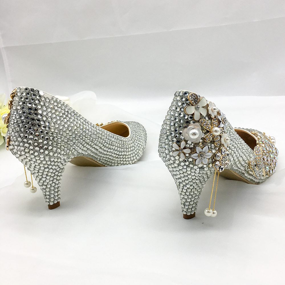 Silver Crystal Shoes Women Pumps Graceful Classic Bride Party Wedding Shoes  5-6cm Lower Middle Heels Personalized Custom Design