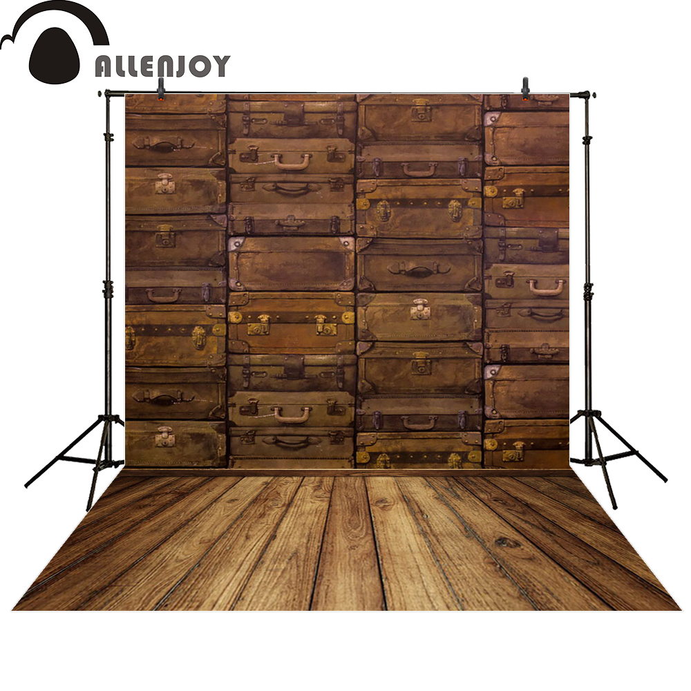 Allenjoy backgrounds for photo studio Vintage Cases brown suitcase photocall photographic photo studio photobooth jbl studio 225c brown