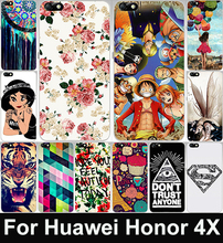 Cartoon Painted Phone Case For Huawei Honor 4X 5 5 inch Honor4X Hard Plastic Back Cover