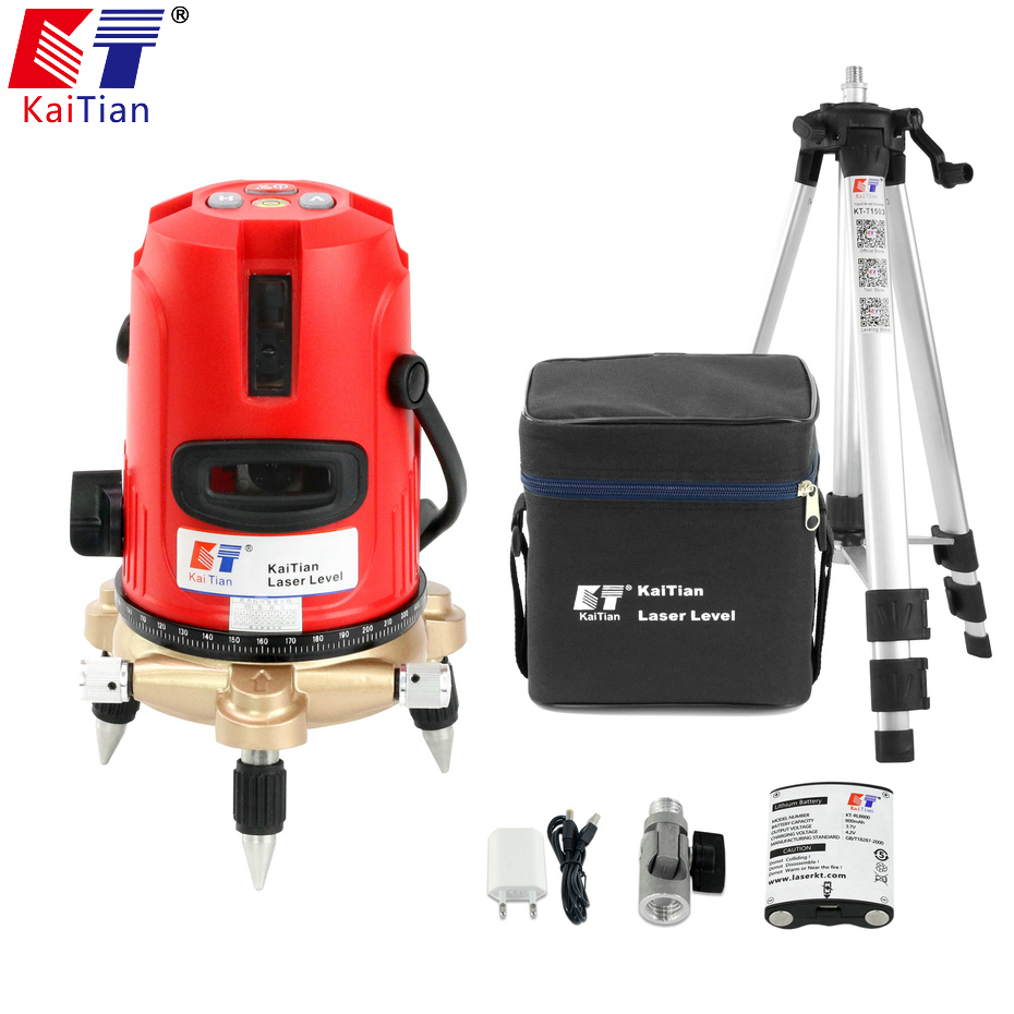 Kaitian Nivel Laser Tripod for Laser Level Self Levelling  360 Rotary 5/8 Bracket  Horizontal Vertical 5 Lines 6 Points Leveling quality mtian level laser 5 lines 6 points instrument levels 360 self rotary 635nm corss line lazer level tools fast delivery