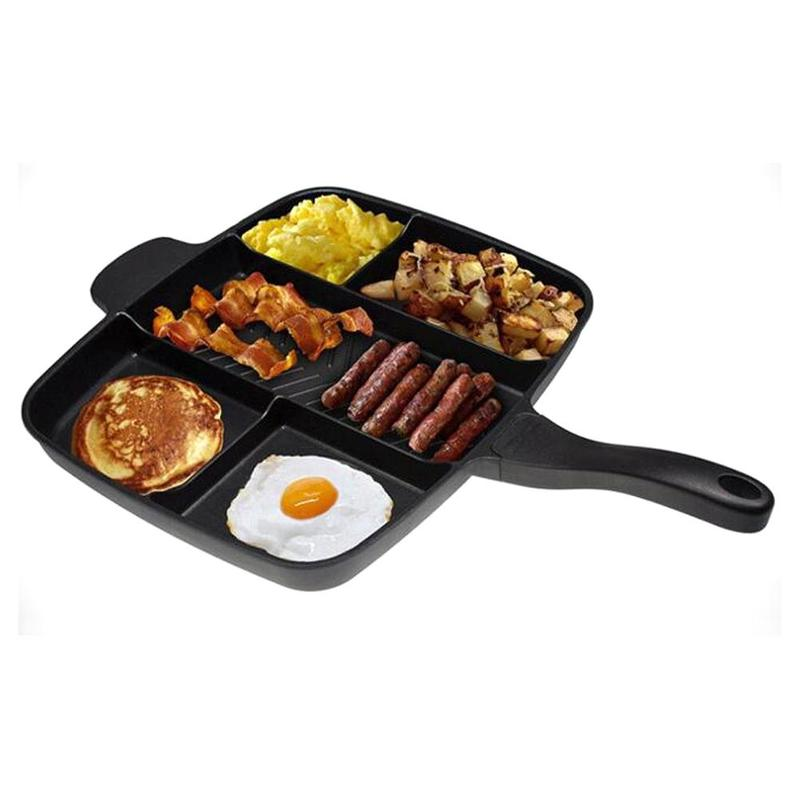 5 In 1 Fry Pan Divided Grill Pan Non-stick Cookware Breakfast Pot Fry Oven Meal Skillet5 In 1 Fry Pan Divided Grill Pan Non-stick Cookware Breakfast Pot Fry Oven Meal Skillet