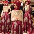 2017 Árabe Vestidos de Noite com Ouro Do Vintage Rendas Beading Mulheres Kaftan Dubai Hijab Muçulmano Mangas Compridas Vestidos de Noite