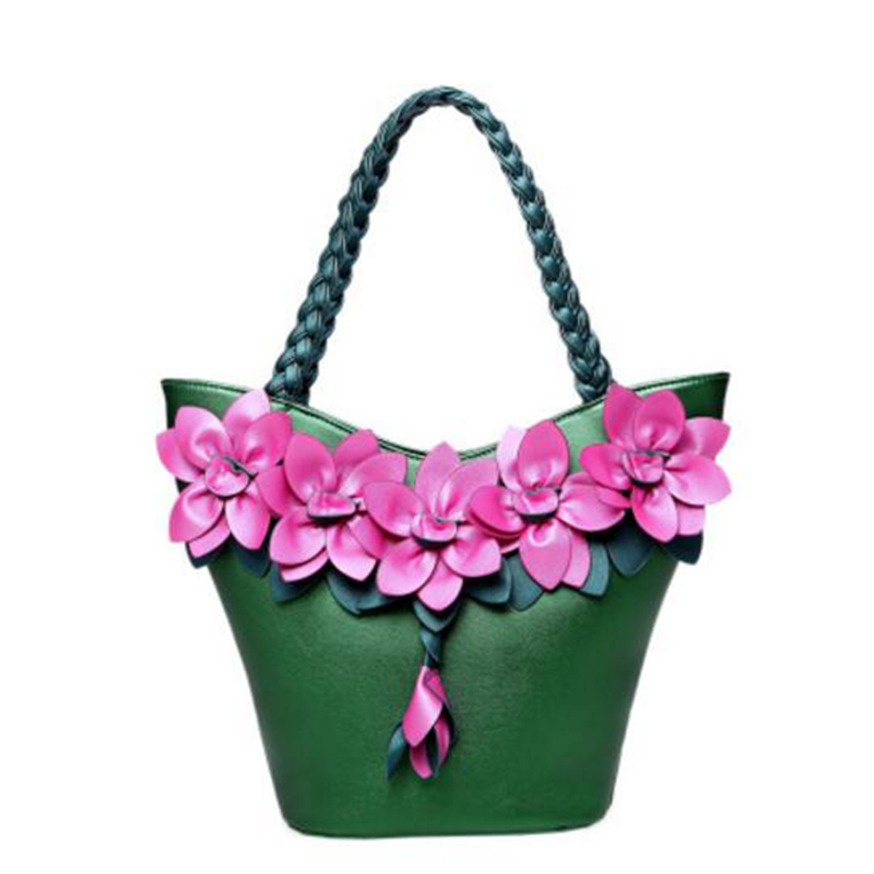 The new 2017 single shoulder bag Summer and fall fashion handbags fluorescent small and pure and fresh flowers woven bag handbag sailor moon the same type bag fashion small pure and fresh and candy color one shoulder inclined shoulder bag