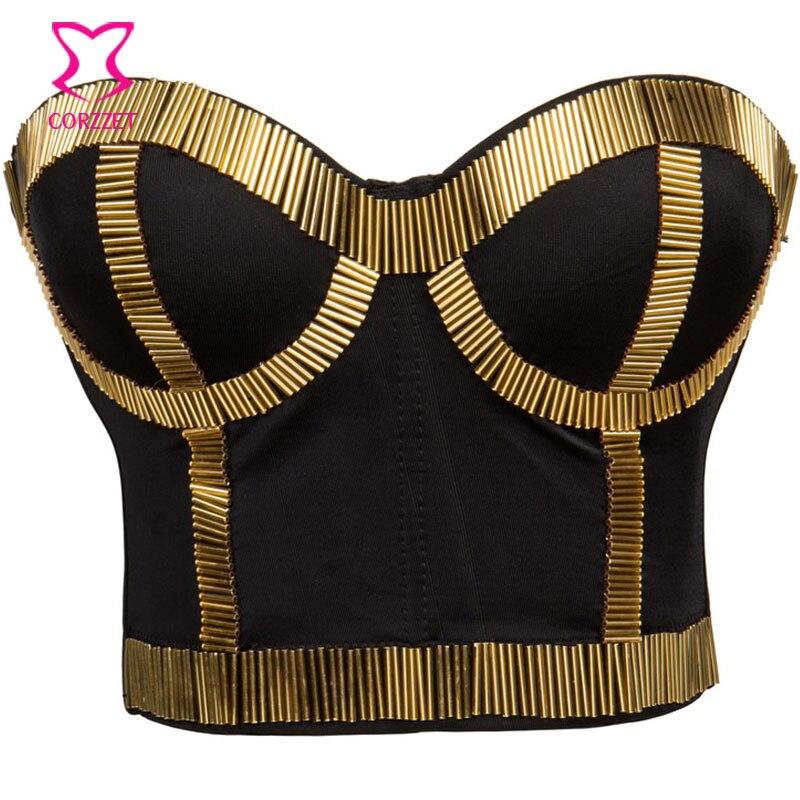 e252000e212961 US $24.8 38% OFF|Corzzet Steamunk Sicken Patchwork Schwarz/Gold Punk Bh +  Rock Push Up Bh Set Sexy Bustiers Crop Büstenhalter Gothic bh Clubwear in  ...