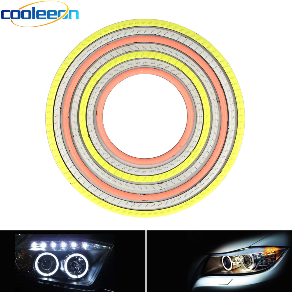 2pcs 60-120mm 12V Round Ring COB LED Light Angel Eye DRL Lamp For Car Daytime Running Decoration Bulbs White Blue Red Green Pink