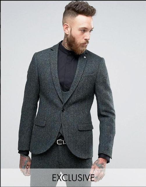 4e3a384d39 Latest Coat Pant Design Grey Tweed Men Suit Slim Fit Skinny 3 Piece Tuxedo  Custom Gentle Blazer Groom Prom Suits Terno Masculino