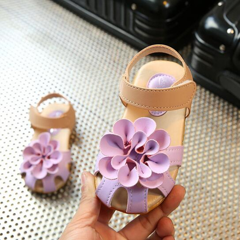 NEW 2018 Summer Girls Sandals Soft outsole Baby Girl Kids Sandals Skidproof Toddlers Infant flower princess shoes 04B