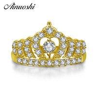 AINUOSHI 10 К твердого желтого золота Для женщин Обручение кольцо имитация Алмаз Bague Princess Crown кольца бренд ювелирных украшений Индивидуальные