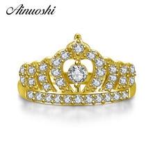 Ainuoshi 10 К твердого желтого золота Для женщин Обручение кольцо имитация Алмаз Bague Princess Crown Кольца бренд Красивые ювелирные изделия по индивидуальному заказу