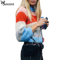 Winter Knitted Sweater Women Lantern Sleeve Striped O Neck Loose Pullover Female 2018 New Fashion Tops Autumn Casual Jumper