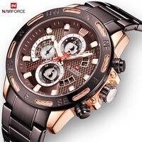 NAVIFORCE Mens Watch Creative Fashion Military Quartz Wristwatch Men Full steel Wateproof Watches Clock Relogio Masculino 9165