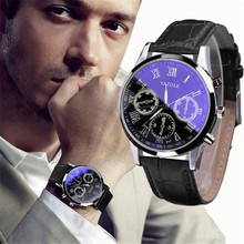 montre homme Luxury Fashion Leather Mens Blue Ray Glass Quartz Analog W