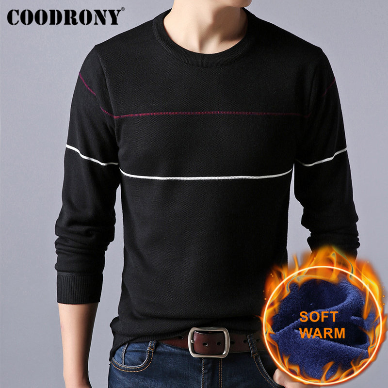 COODRONY Christmas Sweater Men Cotton Liner O-Neck Pull Homme Winter Thick Warm Wool Mens Sweaters 2018 Casual Pullover Men H017