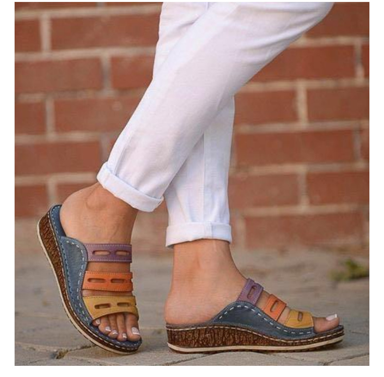 HTB1hheXbG5s3KVjSZFNq6AD3FXaf 2019 Chic Summer Women Lady Fashion Three-color Stitching Color Casual Low Wedge Heel Beach Open Peep Toe Sandals Slippers Shoes