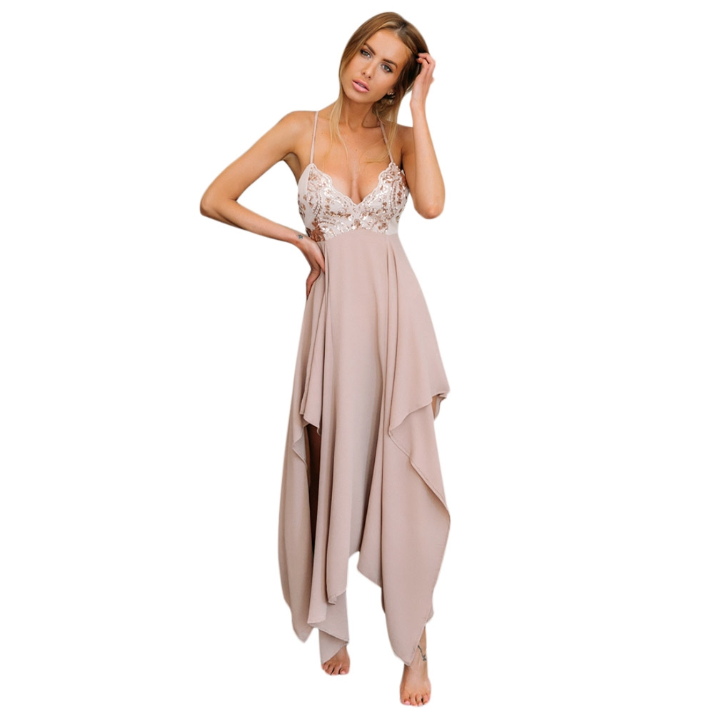VESTLINDA Sexy Club Dress Women Summer Dresses Spaghetti Strap Sequins V Neck Backless Vestido De Festa Asymmetrical Maxi Dress 3