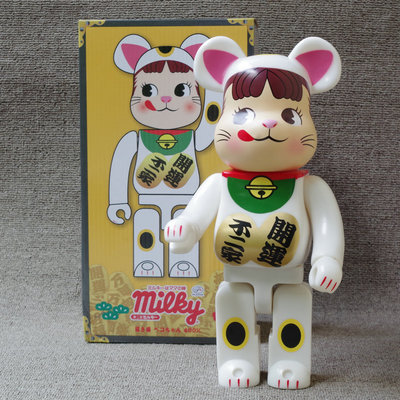 Bearbrick Be@rbrick 400% 28CM Milky Lucky Cat PVC Vinyl Art Figure with retail box new arrival be rbrick bear bearbrick pvc action figure toy 52cm vinyl art figure as a gift for boyfriends