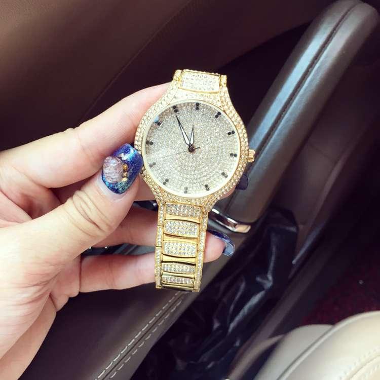 ФОТО Luxury Women Watch Fashion Women Full Crystal Diamond Wristwatch Analog Stainless Steel Quartz Watch Female Dress Relogio OP001