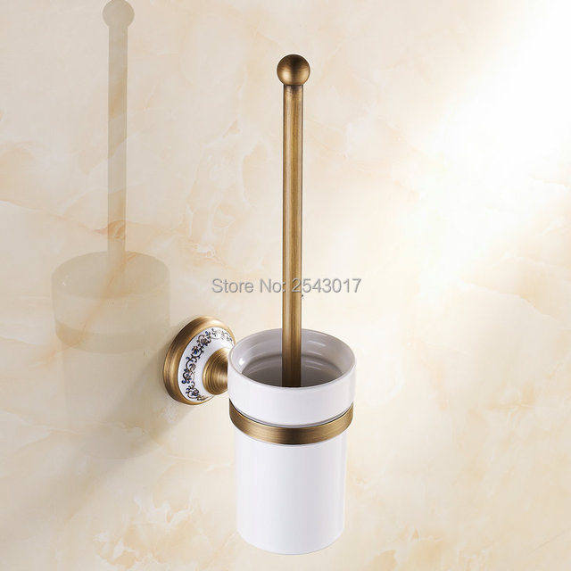 Newly High Quality Antique Bronze Toilet Brush Holder Bathroom Accessories  With Ceramic Cup Wall Mounted Porcelain