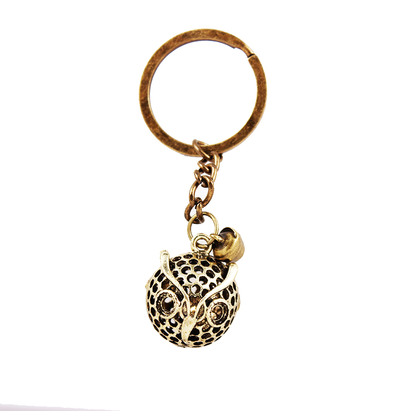 Wholesale Fathers Day Vintage Lucky Owl bell keychain keyring car key holder antique brass plated pendant key chain 10pcs/lot