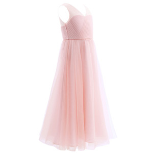 Image 3 - TiaoBug 2020 Girls Pleated Mesh Cutout Back Flower Girl Dress Floor Length Splice Shoulder Straps Sleeveless Wedding Party Dress