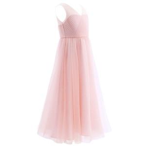 Image 3 - TiaoBug robe plissée en maille pour filles, coupée dans le dos, à fleurs, longueur au sol, épissure sur les épaules, sans manches, robe de soirée de mariage, 2020