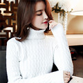new fashion autumn winter women twisted slim knitting top long-sleeve sweater pullover solid color basic knitting