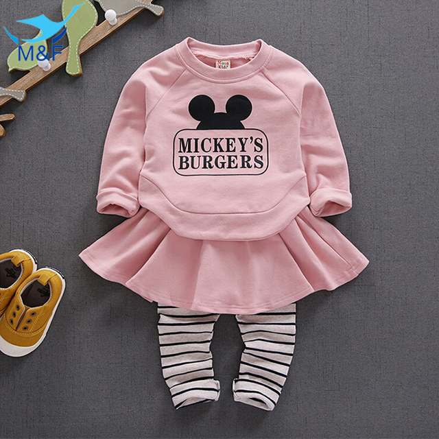M&F Brand Baby Clothing Sets Cotton Baby Kids Clothes Suit 4-24 Months Newborn Long Sleeve T-shirt+Pantskirt Autumn Infant Sets