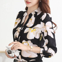 Hot Sale 2016 Spring elegant Fashion Korean Women blouse Long Sleeved Chiffon Slim Female Casual White Black print Blouse 882G25