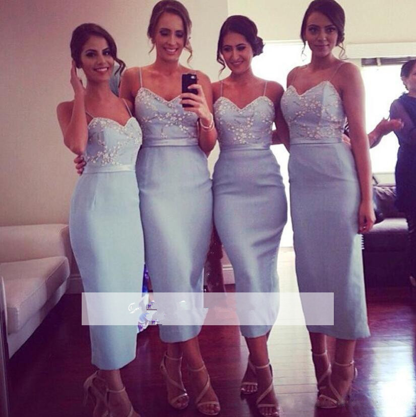 Blue 2019 Cheap   Bridesmaid     Dresses   Under 50 Sheath Spaghetti Straps Pearls Long Wedding Party   Dresses   For Women