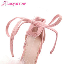 Lasyarrow Heels Shoes Woman Nightclub Shoes High Heels Sandals Faux Fur Peep Toe Stiletto Gladiator Sandalia Feminina Sexy RM066