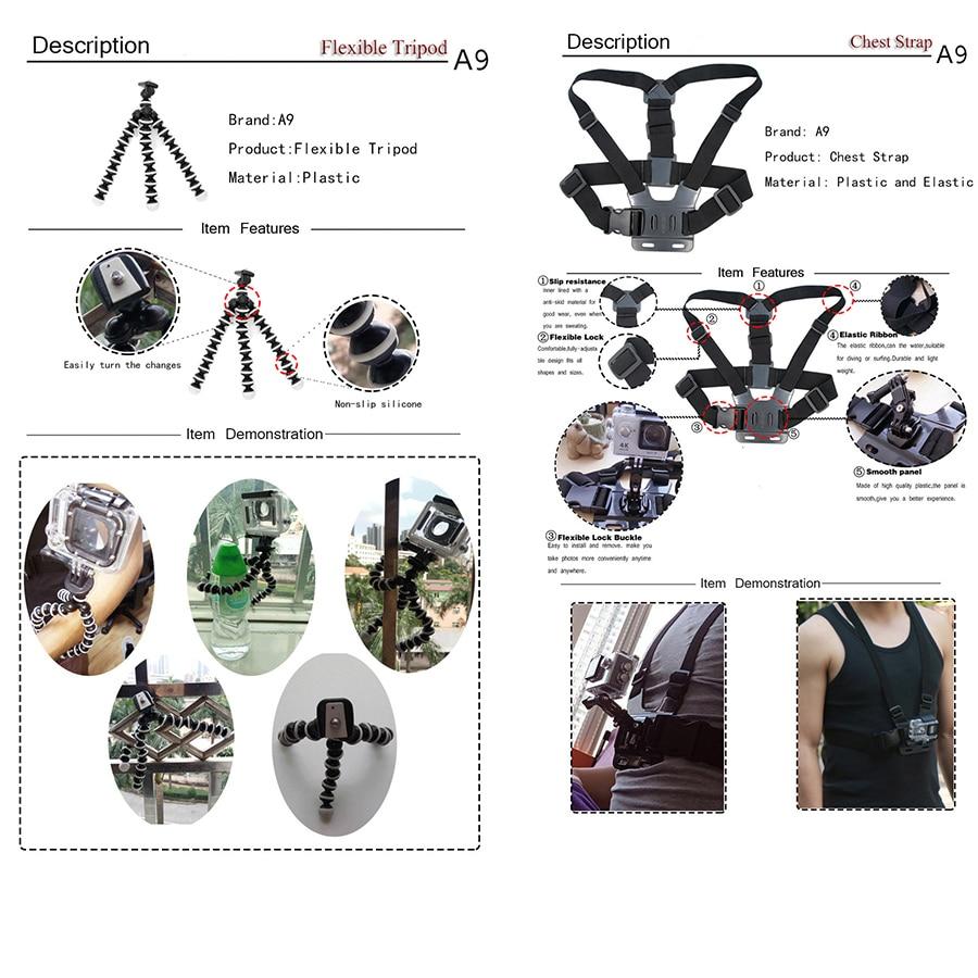 Go pro için Gopro aksesuarları için set A9 5 4 3 / SJCAM SJ4000 - Kamera ve Fotoğraf - Fotoğraf 5