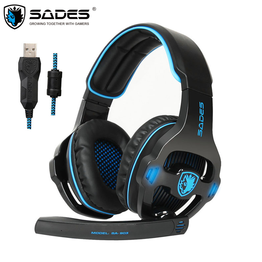 SADES SA-903 PC Gamer Stereo Gaming Headset with Microphone 7.1 Surround Sound USB Wired Earphone Headphones casque sades sa 902 gaming headphones with microphone mic led light usb 7 1 surround sound pc headset gaming earphone for compuer gamer