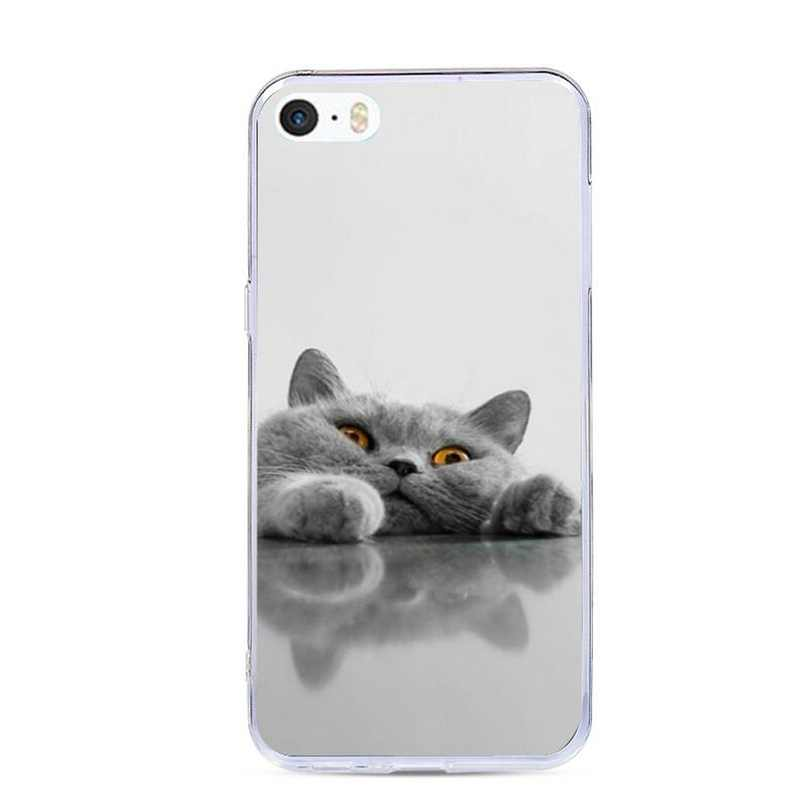 J & R ТПУ силиконовый чехол для телефона iPhone 5 S SE мягкий чехол с принтом для iPhone 6s 6 7 8 Plus XS Max XR Чехлы Мультяшные животные оболочки