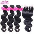Mobb cabelo peruano onda do corpo virgem 3 pcs feixes de cabelo com 6A Virgin Cabelo Humano Tece Com 3 Vias de encerramento Top de Renda fechamento