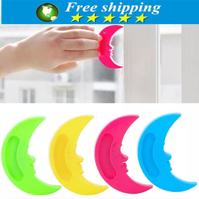 3pcs High Quality Cute Colorful Moon Shaped Sticky Glass Door Handle Kitchen Free Shipping.