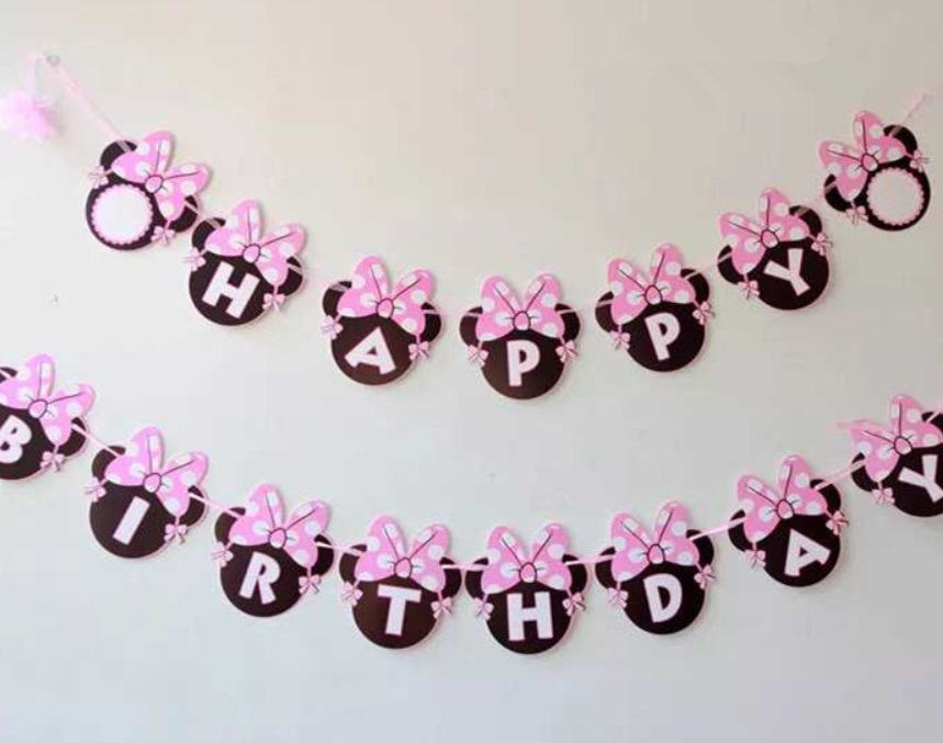 Pink Monkey Bunny Flags Bunting Banner Wall Streamers Baby Shower  Decorations Kids Birthday Party Decor Supplies