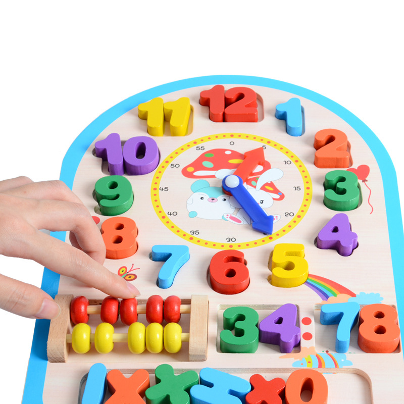 Wooden Clock Toy Baby Colorful Puzzle Digital Geometry Clock Educational 12 Number High Quality For Kids Children Gift in Puzzles from Toys Hobbies