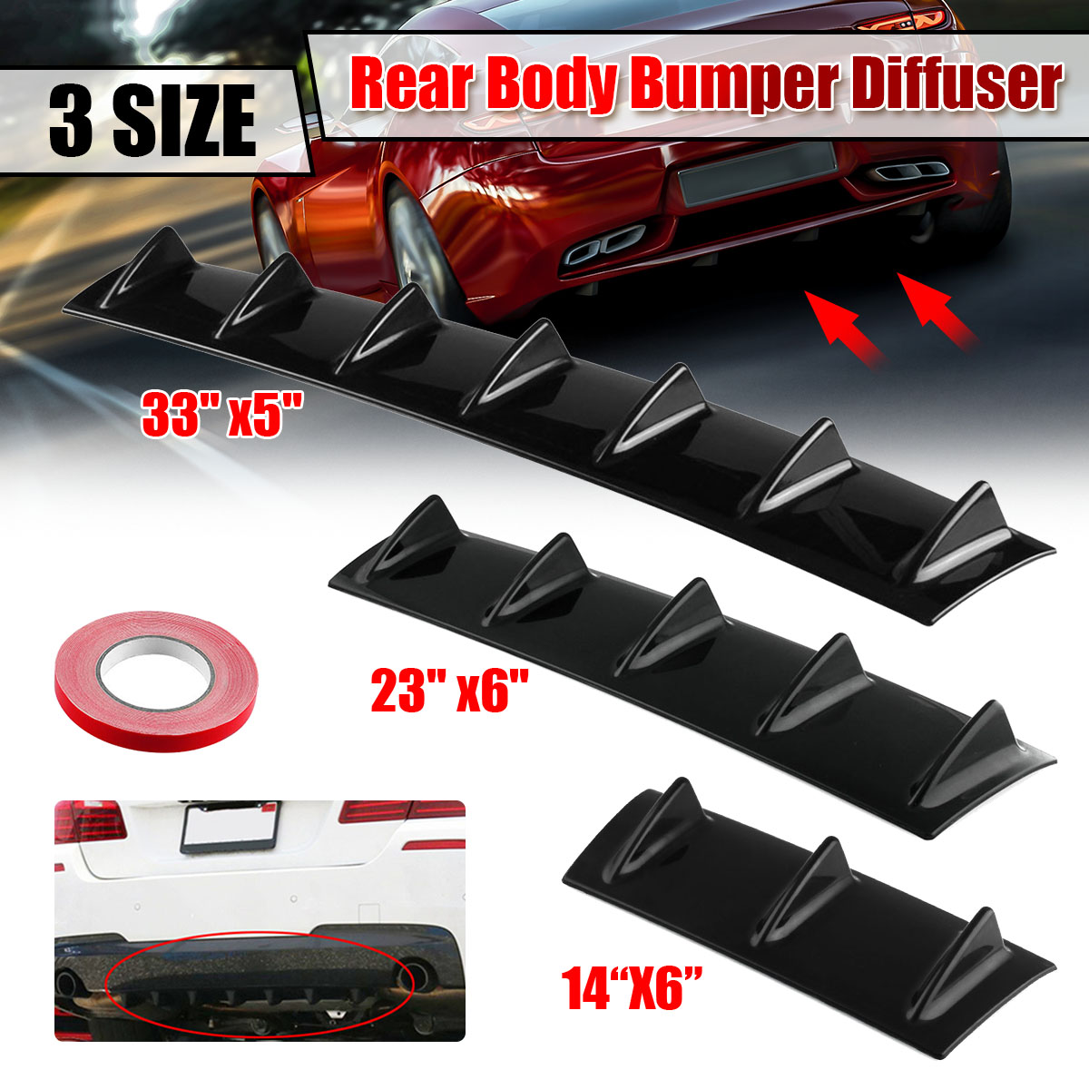 Gloss Black Universal Car Rear Bumper Diffuser Splitter Shark 3 5 7Fin Kit Rear Bumper Lip Spoiler For Honda For Toyota For Benz