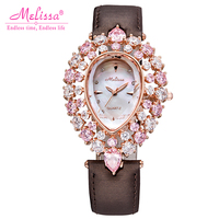 Lady Women's Watch Woman Hours Japan Quartz Fashion Clock Hollow Bracelet Leather Shell Luxury Rhinestones Crystal Girl Gift