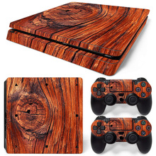 Simple wood grain style Skin For Playstation 4 Slim PS4 Slim Skin Sticker for Console +2 PCS Controller Cover Skin Stickers