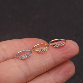 Feelgood 1PC Silver And Gold Color Nose Piercing Jewelry Cz Nose Hoop Nostril Ring Flower Helix Cartilage Tragus Earring 2