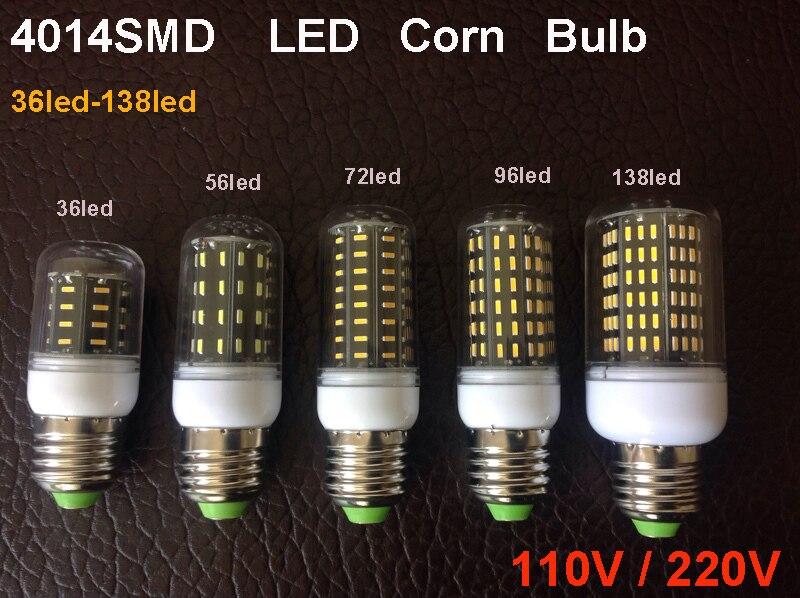 Ultra Alta Lumen 4014 SMD LED Bombilla de maíz E27 E14 110 V/220 V LED luz de la lámpara de araña 36 LEDs 56 ledes 72 ledes 96 ledes 138 ledes
