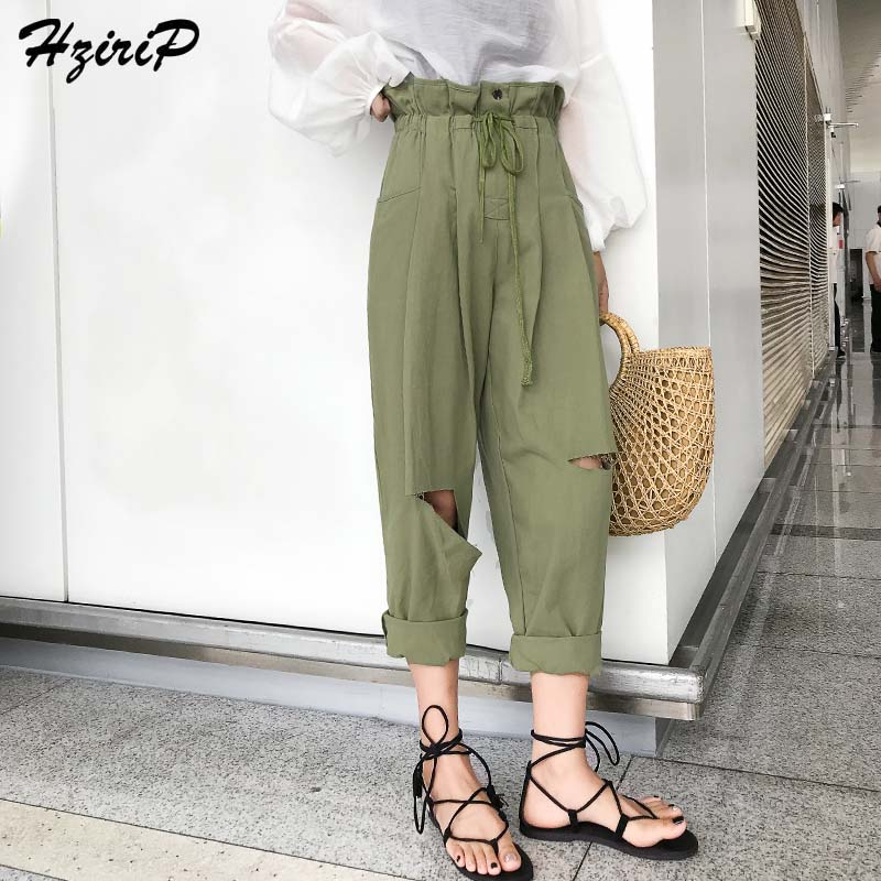 HziriP 2018 Fashion OL Casual Harem   Pants   Loose Summer Flat Elastic High Waist Solid Hole Elegant   Pants   &   Capris   for Ladies