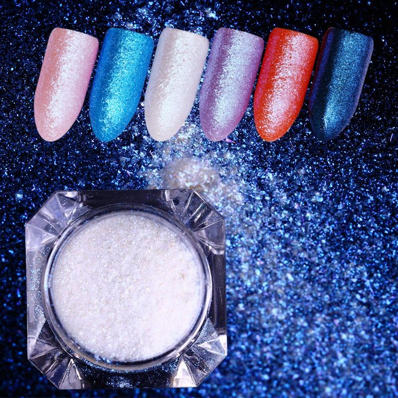 Born Pretty Diamond Mermaid Powder Blue Mirror Powder Nail