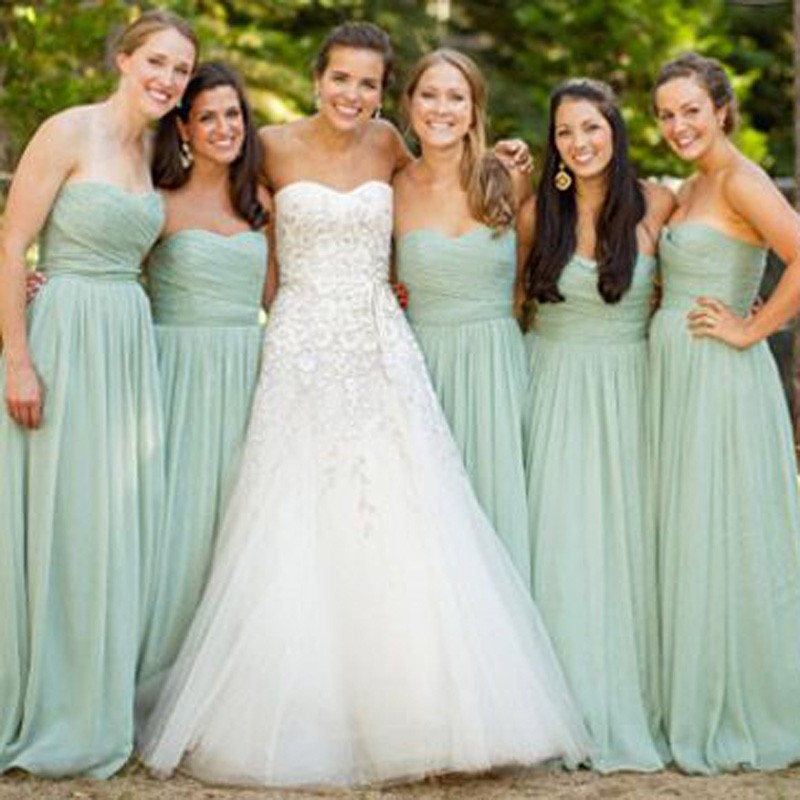 Sage Chiffon Bridesmaid Dress Vintage Style