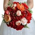 Новый Прибытие Горячий Красный Свадебные Букеты Свадебные Принадлежности Ручной Цветок Аксессуары Casamento Элегантный Букет Buque Де Noiva Дешевые