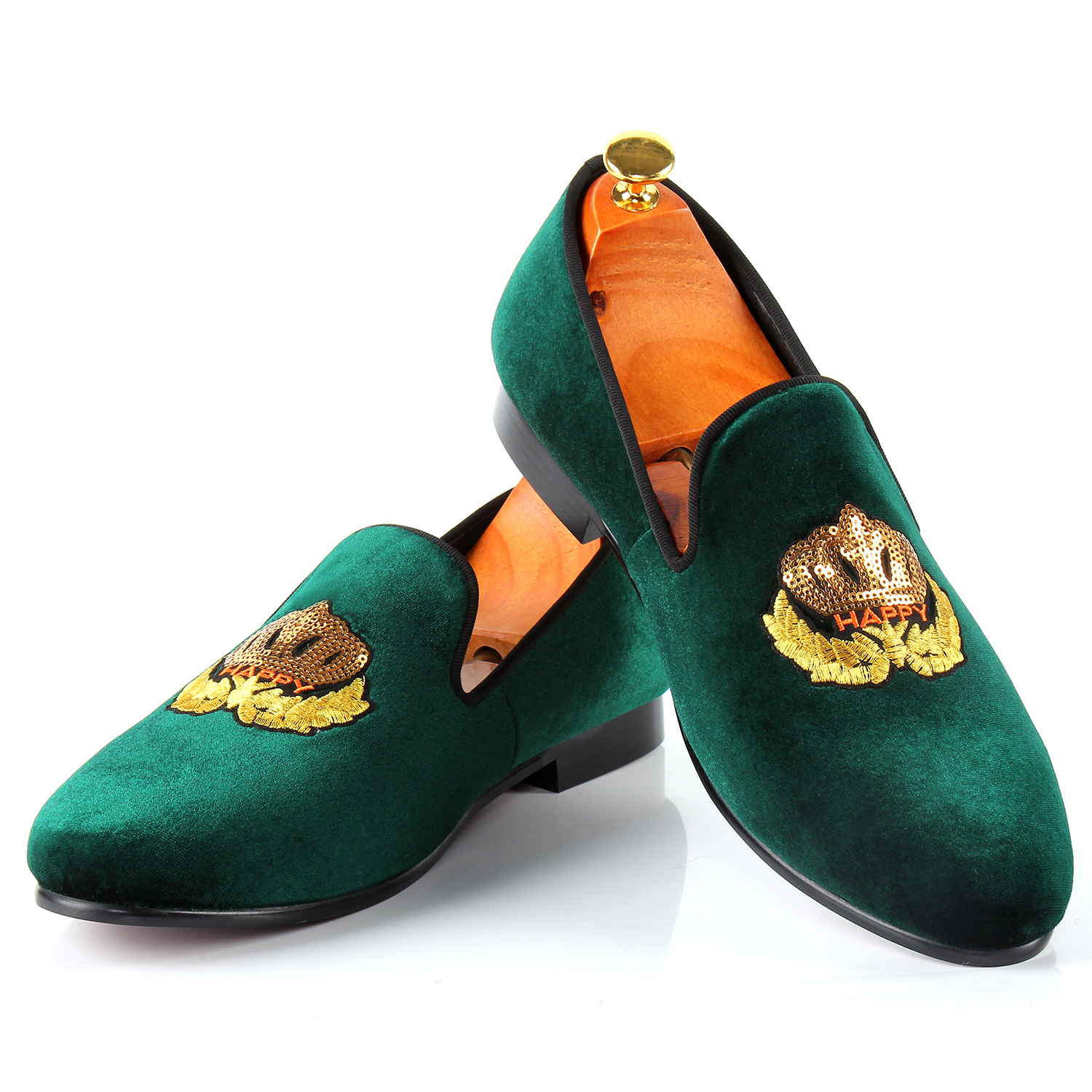 Harpelunde Men Classic Shoes Wholesale Price Slip-on Wedding Shoes Motif Velvet Loafers Slippers Size 7-14