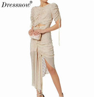 High Quality Designer Dresses for Women Long Lace Silk Dress Solid Hollow Out Dresses